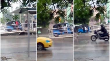 En video   Motocarro invade rampa de estación de Transmetro