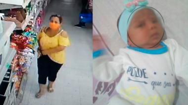 La Policía de Cartagena divulgó estas dos imágenes. La madre de la recién nacida autorizó la publicación de la foto para su búsqueda.