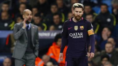 Lionel Messi en uno de sus enfrentamientos con el Manchester City de Pep Guardiola.