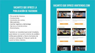 Publicación de Facebook con oferta de empleo en Ara de Chinchiná es estafa