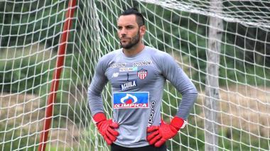 Sebastián Viera durante un entrenamiento de Junior previo al primer juego de la Superliga.