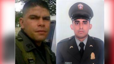 El intendente Robinson Cardona y el patrullero Yeison Vásquez Martínez, oriundo de Cartagena.