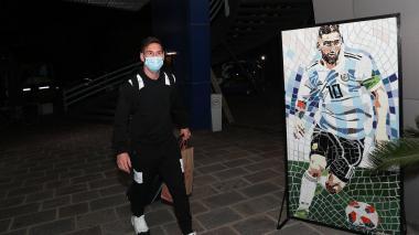 Messi a su llegada a la concentración de la Selección Argentina.