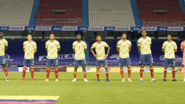 El onceno titular de Colombia en los actos protocolarios del partido frente a Venezuela, en el estadio Metropolitano.
