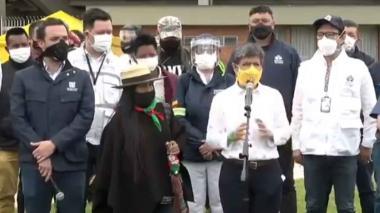 Alcaldesa de Bogotá dio la bienvenida a Minga en el Coliseo de Deportes