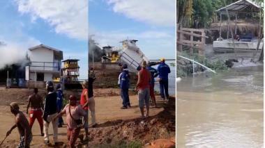 En video | ¡Alerta en Salamina!, erosión derribó la caseta del ferry