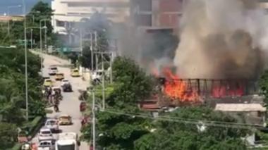 Incendio en establecimiento del barrio Crespo de Cartagena