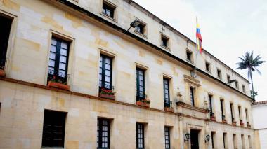 Fachada del Palacio de San Carlos, sede principal de la Cancillería, ubicado en la capital de la República.
