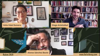 Velia Vidal, escritora; Alonso Sánchez, escritor; Diego Aristizábal, cuentista.
