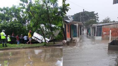 Vehículos afectados y viviendas inundadas tras las lluvias de este viernes
