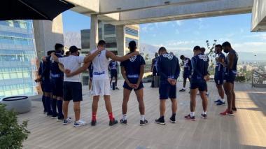 Los jugadores de Junior en el sitio de concentración en Chile.