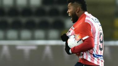 Miguel Borja celebrando el gol que le anotó a Coquimbo Unido en Chile.