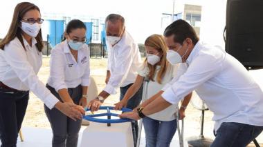La gobernadora Elsa Noguera en el acto de entrega de la obras de la planta de tratamiento.