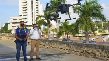 La primera tarea del dron es la identificación de riesgos en varias zonas de Cartagena.