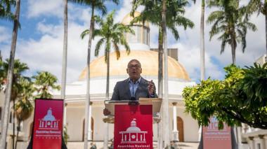 El presidente de la Asamblea Nacional de Venezuela, Jorge Rodríguez, en el Palacio Federal Legislativo, en Caracas.