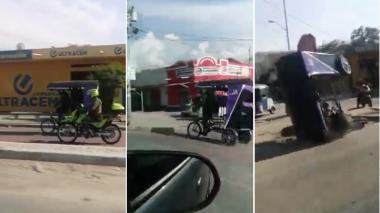 Policía terminó golpeado cuando manejaba un bicitaxi