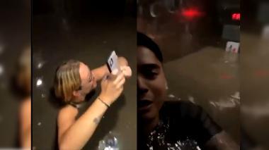 Aterrador momento: jóvenes quedaron atrapados en un ascensor inundado