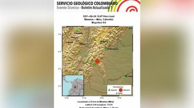 Sismo de 4.0 sacudió a Colombia este domingo