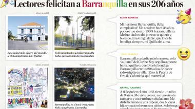 Lectores felicitan a Barranquilla en sus 206 años