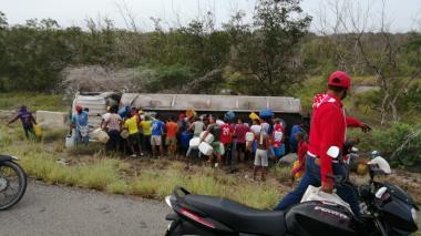 Momentos del accidente en vía Barranquilla - Ciénaga