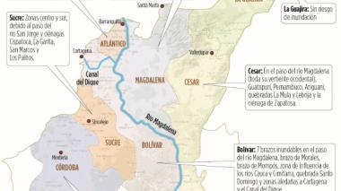 Mapa de amenazas por inundaciones en la Región Caribe