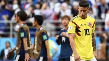 James Rodríguez se lamenta tras el juego.