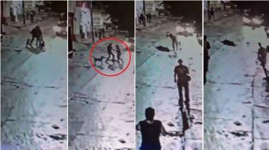 Cámara registra el ataque a puñal de una mujer a un hombre en San Roque