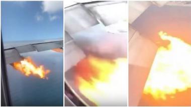En video | Pánico en el aire: turbina se incendia en pleno vuelo