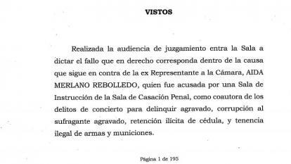 Este es el texto íntegro de la sentencia a Aida Merlano