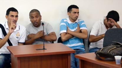 Carlos Mercado, Pedro Bahoque, Javier Chamorro y Víctor Barrera, durante la audiencia de legalización de captura, imputación de cargos y solicitud de medida de aseguramiento.