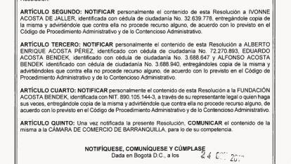 SIC revoca actos que reformaron la Fundación Acosta Bendek