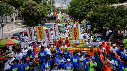 La marcha en Barranquilla concluyó en  el parque del barrio Los Andes.