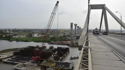 Aspecto de las obras del nuevo Puente Pumarejo.