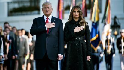 Los Trump en el minuto de silencio en honor de las víctimas del 11 de Septiembre.