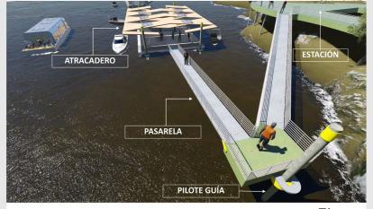 Render del proyecto de transporte por el río Sinú.