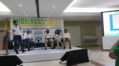 Alberto Escolar durante su intervención en la rendición de cuentas de la CRA.