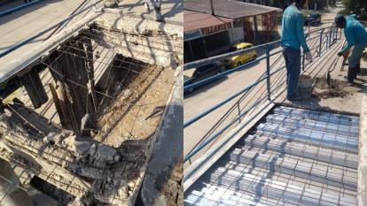 Luego de romper la losa de concreto dañada (izquierda), fueron instaladas las placas de aluminio en la parte más crítica del puente (derecha).