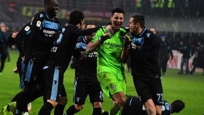 Jugadores de la Lazio celebrando la clasificación.