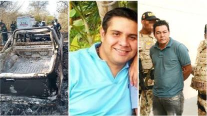 La camioneta que incineraron junto al cuerpo del ganadero; la víctima Juan Felipe 'Puro' Ustariz; y el capturado, Ladimir Antonio Luna Cano.