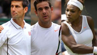 Novak Djokovic, Juan Martín Del Potro y Serena Williams.