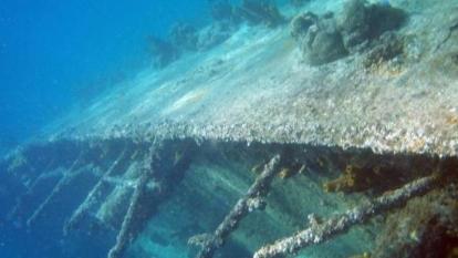 Aspectos de los restos del Galeón sumergido en el mar Caribe.