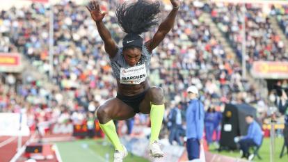 La atleta colombiana Caterine Ibargüen en Noruega.