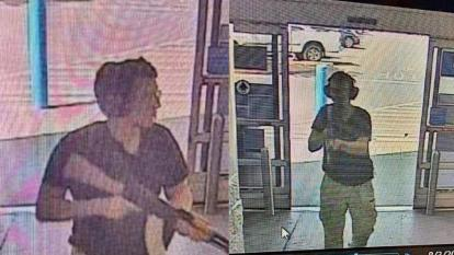 La imagen muestra al hombre armado identificado como Patrick Crusius, de 21 años, ingresando a la tienda Cielo Vista Walmart en El Paso el 3 de agosto de 2019.