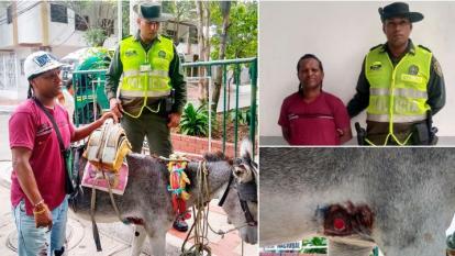 El hombre capturado y el burro con las heridas.