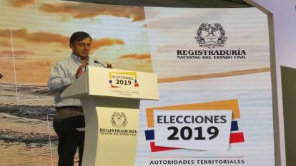 El registrador Juan Carlos Galindo durante su intervención.