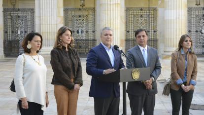 El presidente Iván Duque durante la instalación de los comicios electorales.