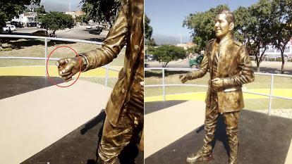 Cortan dedo a la estatua de Peter Manjarrés en Valledupar