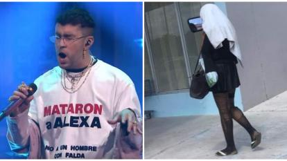Bad Bunny en un concierto y la imagen de Alexa.