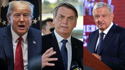 Donald Trump, presidente de Estados unidos; Jair Bolsonaro, presidente de Brasil y Andrés Manuel López Obrador, presidente de México.