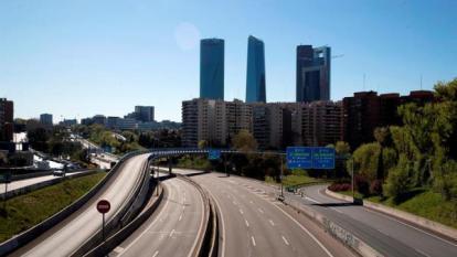 Madrid, sin tráfico durante el estado de alarma por el nuevo coronavirus.
